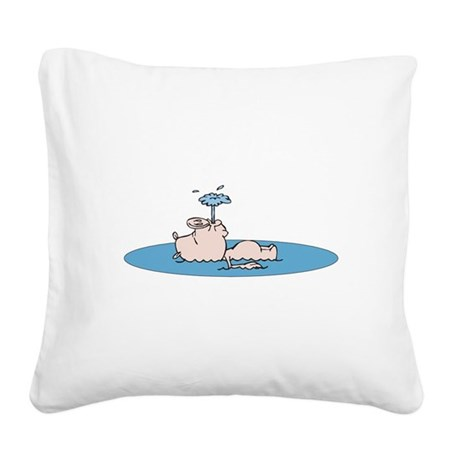 cute swimming piggy.png Square Canvas Pillow