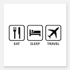 "Eat Sleep Travel Square Car Magnet 3"" x 3"""
