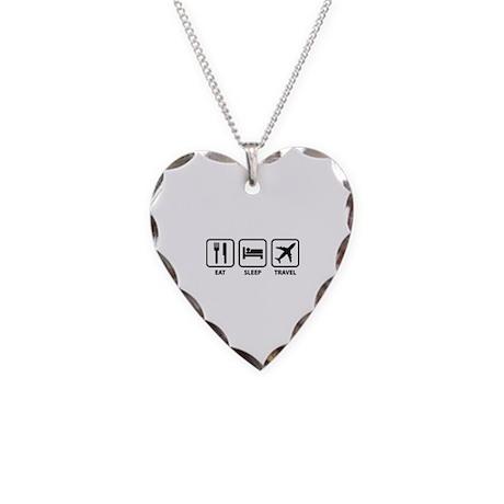 Eat Sleep Travel Necklace Heart Charm