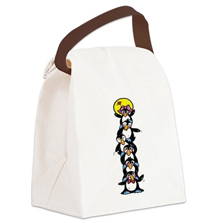 penguin totem pole.png Canvas Lunch Bag