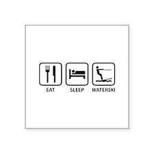 "Eat Sleep Waterski Square Sticker 3"" x 3"""