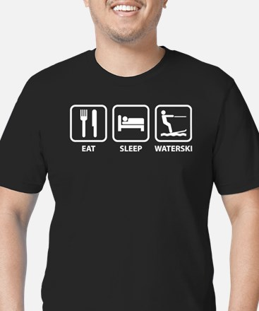 Eat Sleep Waterski Men's Fitted T-Shirt (dark)