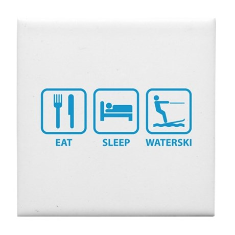 Eat Sleep Waterski Tile Coaster