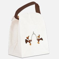 turkeys breaking wishbone.png Canvas Lunch Bag