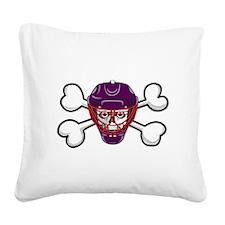 hockey skull crossbones.png Square Canvas Pillow