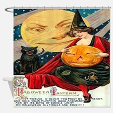 Vintage Halloween Witch Moon Cat Shower Curtain