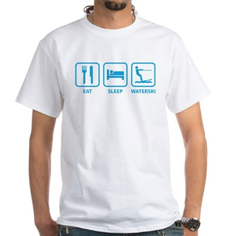 Eat Sleep Waterski White T-Shirt