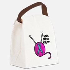 knit cause teal ribbon.png Canvas Lunch Bag
