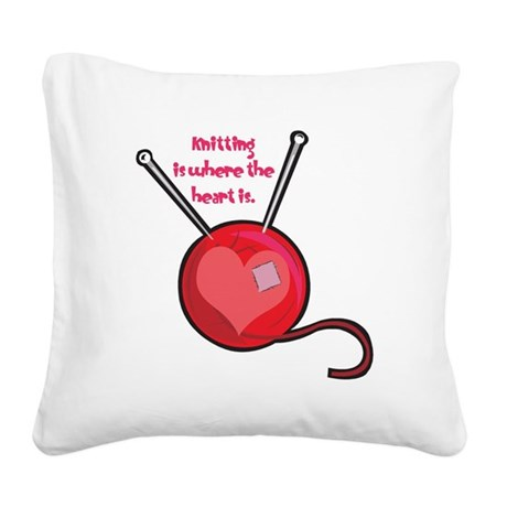 knitting is where the heart.png Square Canvas Pill