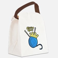 knitting queen.png Canvas Lunch Bag