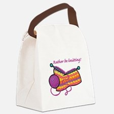 rather be knitting.png Canvas Lunch Bag