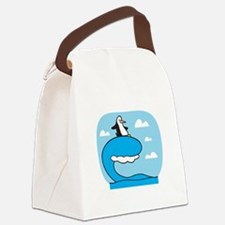 penguin surfing.png Canvas Lunch Bag