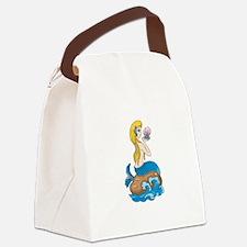 mermaidbluewithshell copy.jpg Canvas Lunch Bag