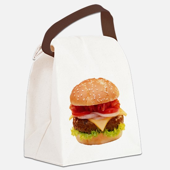 yummy cheeseburger photo Canvas Lunch Bag