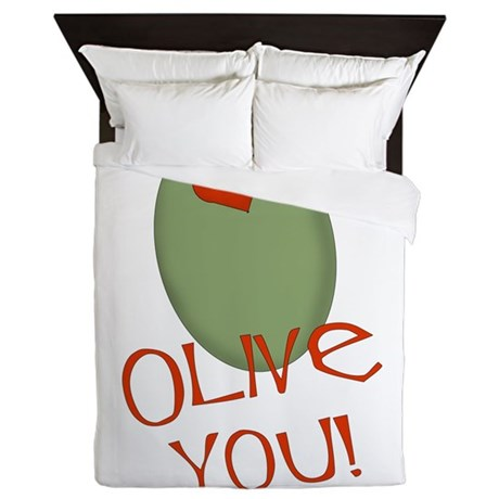 olive you.png Queen Duvet