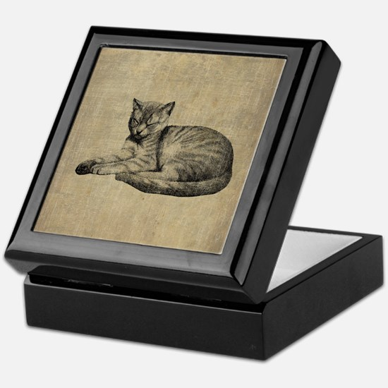Cute Vintage Cat Keepsake Box