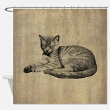 Cute Vintage Cat Shower Curtain