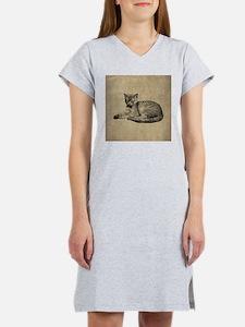 Cute Vintage Cat Women's Nightshirt