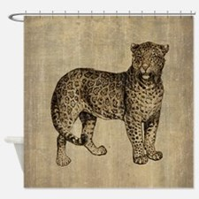 Vintage Leopard Shower Curtain