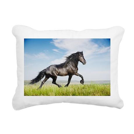 Black friesian horse Rectangular Canvas Pillow