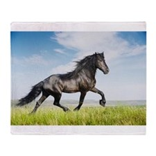 Black friesian horse Throw Blanket