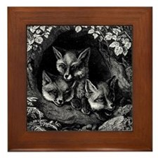 Vintage Foxes Framed Tile