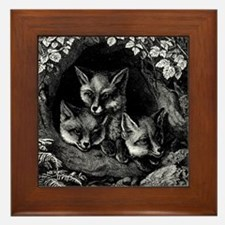 Vintage Foxes Framed Tile