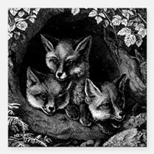 """Vintage Foxes Square Car Magnet 3"""" x 3"""""""