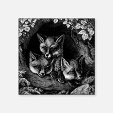 "Vintage Foxes Square Sticker 3"" x 3"""