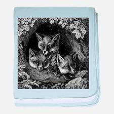 Vintage Foxes baby blanket