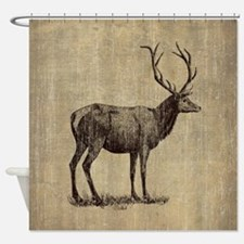 Vintage Antler Shower Curtain