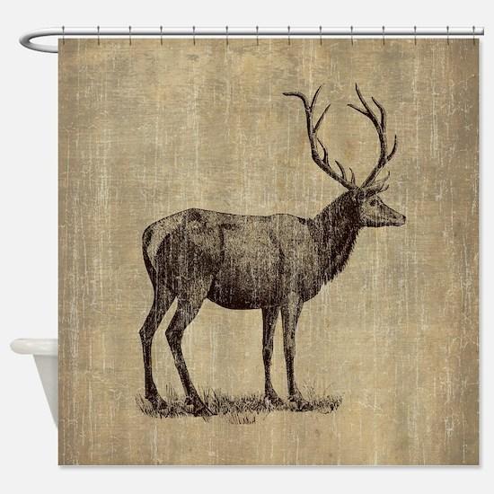 Vintage Antler Shower Curtain