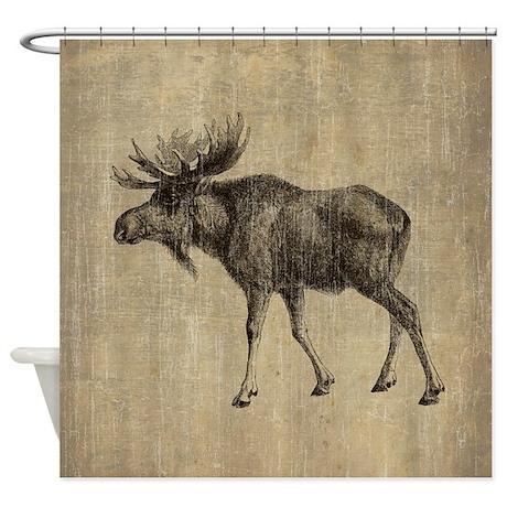 vintage moose shower curtain