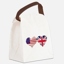 USA and UK Heart Flag Canvas Lunch Bag