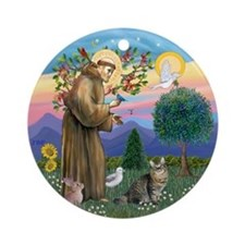 StFrancis-American Bobtail Ornament (Round)