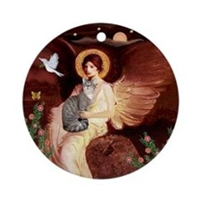Angel1-Silver Tabby cat Ornament (Round)