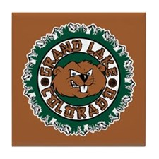 Grand Lake Beaver Circle Tile Coaster