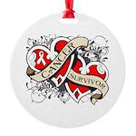 Mesothelioma Survivor Hearts Round Ornament