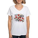 Mesothelioma Survivor Hearts Women's V-Neck T-Shir