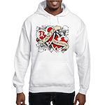 Mesothelioma Survivor Hearts Hooded Sweatshirt