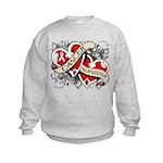 Mesothelioma Survivor Hearts Kids Sweatshirt