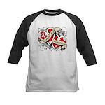 Mesothelioma Survivor Hearts Kids Baseball Jersey