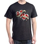 Mesothelioma Survivor Hearts Dark T-Shirt