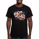 Mesothelioma Survivor Hearts Men's Fitted T-Shirt