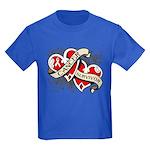 Mesothelioma Survivor Hearts Kids Dark T-Shirt