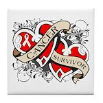 Mesothelioma Survivor Hearts Tile Coaster
