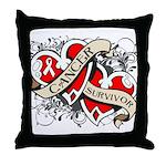 Mesothelioma Survivor Hearts Throw Pillow