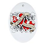 Mesothelioma Survivor Hearts Ornament (Oval)