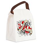 Mesothelioma Survivor Hearts Canvas Lunch Bag