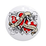 Mesothelioma Survivor Hearts Ornament (Round)